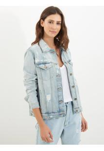 Jaqueta Le Lis Blanc Bordada Clara Algarve Jeans Azul Feminina