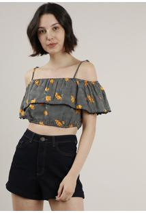 Blusa Feminina Ciganinha Cropped Open Shoulder Estampada Floral Manga Curta Preta