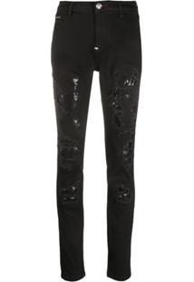 Philipp Plein Calça Jeans Com Efeito Destroyed - Preto