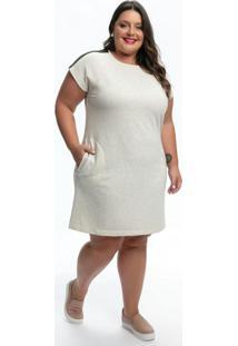 Vestido Pçus Size Off White Com Listras