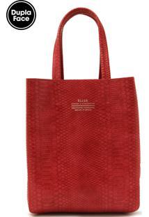 Bolsa Ellus Dupla Face Textura Vermelha/Bege