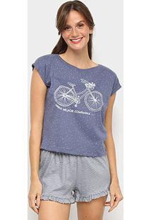 Pijama Hering Curto Feminino - Feminino-Azul