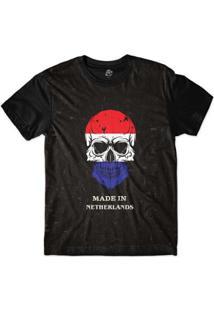 Camiseta Bsc Caveira País Holanda Sublimada Masculina - Masculino-Preto