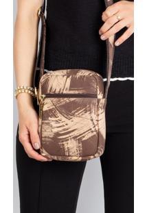 Bolsa Shoulder Bag De Couro Pietra - Marrom Riscado - Bege - Feminino - Dafiti
