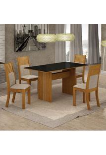 Conjunto De Mesa De Jantar Florença Iii Com 4 Cadeiras Havaí Linho Preto E Bege