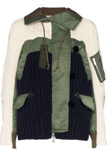 Sacai Jaqueta De Tricô Com Capuz - Estampado