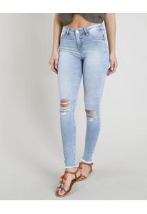 34508d500 ... Calça Jeans Feminina Sawary Cigarrete Com Rasgos Azul Claro