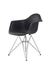 Cadeira Eames Eiffel Com Braco Polipropileno Cor Preto Base Cromada - 44923 Preto