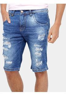 Bermuda Jeans Rock & Soda Stone Rasgada Masculina - Masculino