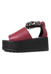 Sandália Plataforma Tratorada Damannu Shoes Juliette Bordô