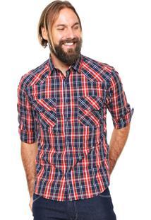 Camisa Von Dutch Xadrez Azul/Vermelho
