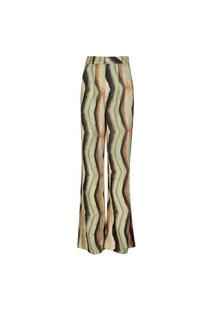 Calça Feminina Pantalona Listras E Floral Zig Terra