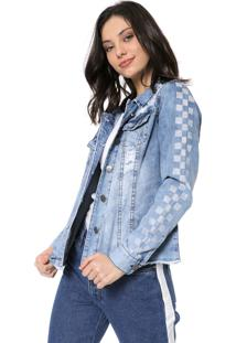 Jaqueta Jeans Tricats Destroyed Grid Azul