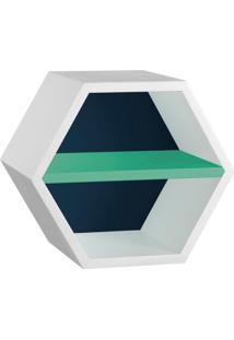 Nicho Hexagonal Favo Ii Com Prateleira Branco Com Azul Noite E Verde Anis
