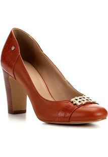 Scarpin Couro Shoestock Salto Alto Bloco - Feminino-Caramelo