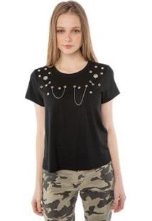 Blusa T-Shirt Com Ilhoses E Correntes Pop Me Feminina - Feminino-Preto