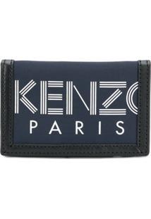 Kenzo Carteira De Couro Com Velcro - Azul