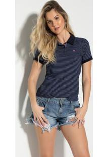 Camisa Polo Vitrine Casual Meia Malha Listrada Feminina - Feminino-Azul+Branco