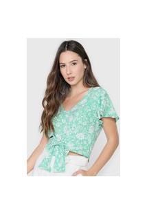 Blusa Cropped Cativa Amarração Verde/Branca