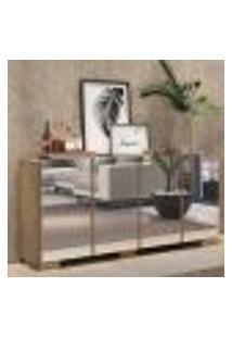 Aparador Buffet 4 Portas C/ Espelho E Pés Quadrados Vegas Multimóveis Rustic/Natural