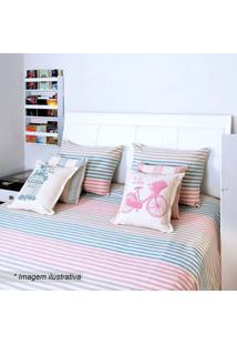 Colcha Romantic Casal- Azul & Rosa- 230X250Cm- Aartesanal
