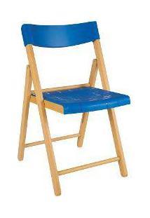 Cadeira Potenza De Madeira Tauarí Envernizada E Plástico Azul Dobráveis Fold - Tramontina