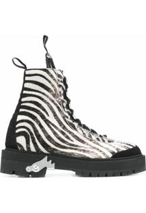 Off-White Bota Com Estampa De Zebra - Preto