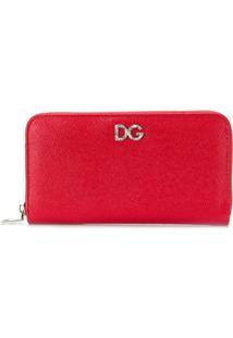 Dolce & Gabbana Carteira De Couro Com Zíper - Vermelho