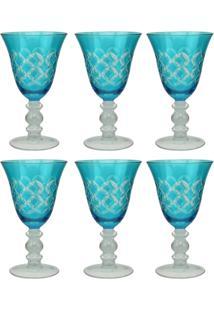 Jogo Taças De Vinho Vidro Cristalino Lapidado Azul 6 Pçs - Tricae