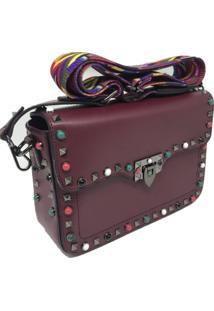 Bolsa Importada Transversal Alça Colorida Sys Fashion 8304 Vinho