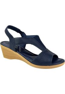 Sandália Usaflex Elástico Comfort Feminina - Feminino-Azul
