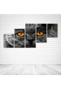 Quadro Decorativo - Adorable Animal Background Cat - Composto De 5 Quadros - Multicolorido - Dafiti