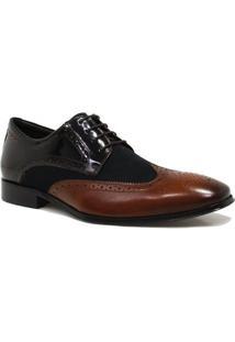 Sapato Zariff Shoes Social Brogue - Masculino-Preto+Marrom