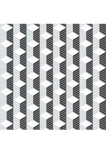 Papel De Parede Cubo Geométrico Cinza E Branco (1000X52)