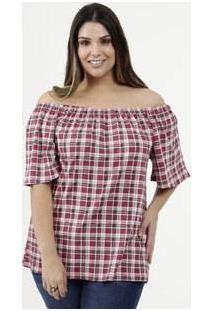 Blusa Feminina Estampa Xadrez Ombro A Ombro Plus Size Luktal