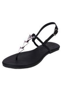 Sandália Rasteira Pirâmide Mercedita Shoes Preto