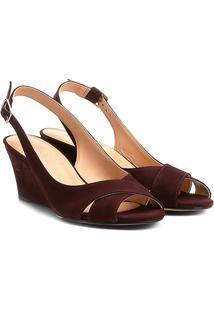 Sandália Anabela Couro Shoestock Nobuck Feminina - Feminino-Vinho