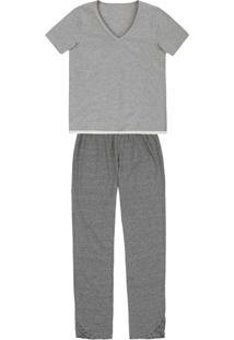 Pijama Feminino Manga Curta E Calça