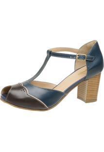 Sandália Retrô Peep Toe Touro Boots Feminina Azul E Marrom - Kanui