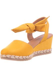 Anabela Any Butique De Sapatos Amarela Em Suede Amarração