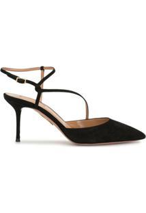 Aquazzura Sapato Bico Fino Com Tiras - Preto