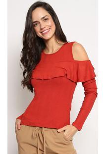 Blusa Canelada Com Babados- Vermelha- Sommersommer