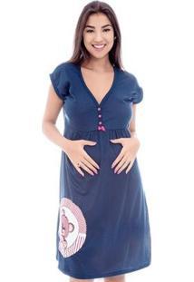 Camisola Luna Cuore Curta Gestante Feminino 027 - Feminino-Marinho