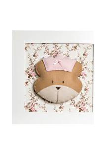 Quadro Decorativo Cara De Ursa Princesa Potinho De Mel Rosa