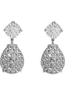 Brinco Liage Comprido Gota Pedraria Cristal Strass Transparente E Metal Prata - Tricae