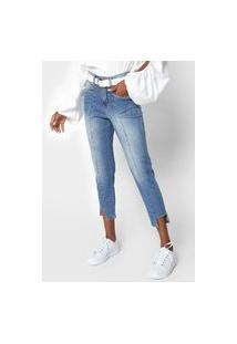 Calça Cropped Jeans Zune Slim Estonada Azul