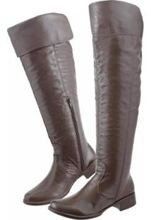Bota Couro Over The Knee Montaria Clacle Feminina - Feminino-Café