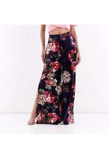 Calça Pantalona Floral Feminina For Why - Marinho