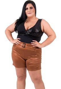 Shorts Cirré Plus Size Com Cinto Em Fivela Caramelo
