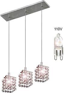 Lustre Pendente De Cristal Triplo 3 Aros Lâmpadas G9 Inclusas